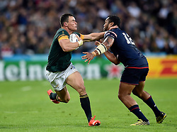 Jesse Kriel of South Africa fends Andrew Suniula of the USA - Mandatory byline: Patrick Khachfe/JMP - 07966 386802 - 07/10/2015 - RUGBY UNION - The Stadium, Queen Elizabeth Olympic Park - London, England - South Africa v USA - Rugby World Cup 2015 Pool B.