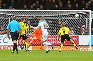 Peterborough United midfielder Joe Ward (15) scores and celebrates 1-0 during the EFL Sky Bet League 1 match between Burton Albion and Peterborough United at the Pirelli Stadium, Burton upon Trent, England on 27 October 2018.