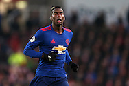 Paul Pogba of Manchester Utd looks on. Premier league match, Stoke City v Manchester Utd at the Bet365 Stadium in Stoke on Trent, Staffs on Saturday 21st January 2017.<br /> pic by Andrew Orchard, Andrew Orchard sports photography.