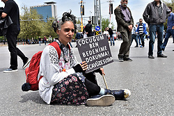 May 1, 2019 - Ankara, Turkey - A demonstrator holds a placard as she takes part in a march during May Day celebrations in the Turkish capital. (Credit Image: © Altan Gocher/ZUMA Wire)