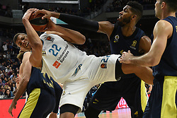 March 2, 2018 - Madrid, Madrid, Spain - Walter Tavares (left),  #22 of Real Madrid and Jason Thompson,  #1 of Fenerbahce in action during the 2017/2018 Turkish Airlines EuroLeague Regular Season Round 24 game between Real Madrid and Fenerbahce Dogus Istanbul at WiZink center in Madrid. (Credit Image: © Jorge Sanz/Pacific Press via ZUMA Wire)