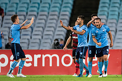 December 15, 2018 - Sydney, NSW, U.S. - SYDNEY, NSW - DECEMBER 15: Sydney FC celebrate the goal of Sydney FC midfielder Joshua Brillante (6) at the Hyundai A-League Round 8 soccer match between Western Sydney Wanderers FC and Sydney FC at ANZ Stadium in NSW, Australia on December 15, 2018. (Photo by Speed Media/Icon Sportswire) (Credit Image: © Speed Media/Icon SMI via ZUMA Press)