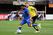 AFC Wimbledon striker Andy Barcham (17) with a shot on goal during the Pre-Season Friendly match between AFC Wimbledon and Burton Albion at the Cherry Red Records Stadium, Kingston, England on 21 July 2017. Photo by Matthew Redman.