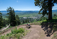 Brigid Mander weaves down the new Solitoga downhill bike trail during a preview event Friday at Jackson Hole Mountain Resort. The resort opened four new trails from the top of the Sweetwater Gondola along with the rest of their trail system Saturday.