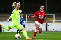 Carla Humphrey of Bristol City Women puts pressure on Hannah Hampton of Birmingham City Women- Mandatory by-line: Will Cooper/JMP - 18/10/2020 - FOOTBALL - Twerton Park - Bath, England - Bristol City Women v Birmingham City Women - Barclays FA Women's Super League