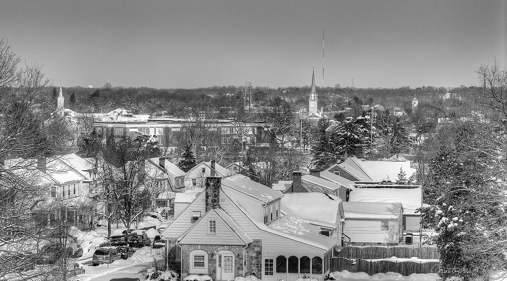 A wintery Fredericksburg, VA seen from historic Trench Hill.