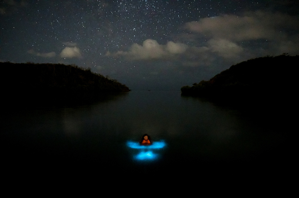 A swimmer with an orange life preserver excites microscopic dinoflagellates into producing bioluminescence. The Bio Bay near Parguera, Puerto Rico, is one of only five in the world and is a major tourist attraction. When the double hurricanes hit in 2017 two of Puerto Rico's three Bio Bays went dark, just like the cities, hurting tourism and jobs for months, if not years to come.