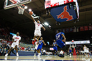 DALLAS, TX - DECEMBER 17: Sterling Brown #3 of the SMU Mustangs drives to the basket against the Hampton Pirates on December 17, 2015 at Moody Coliseum in Dallas, Texas.  (Photo by Cooper Neill/Getty Images) *** Local Caption *** Sterling Brown