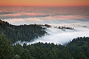 Magical sunset over the low fog covering the ocean from the top of mt. tam in Marin county, california