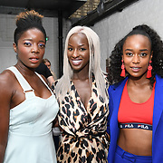 Style icon Nat,Sarah Mulindwa & Annalise Dayes Heart FM Presenter attend the Oppo party to launch its new Madagascan Vanilla, Sicilian Lemon and Raspberry Cheesecakes, served with Skinny Prosecco at Farm Girls Café, 1 Carnaby Street, Soho, London, UK on July 18 2018.