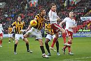 Sheffield United midfielder Martyn Woolford heads ball clear of goal area second half of the match  during the Sky Bet League 1 match between Sheffield Utd and Port Vale at Bramall Lane, Sheffield, England on 20 February 2016. Photo by Ian Lyall.