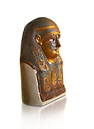 Ushabti. Ptolemaic Dynasty  Egyptian textile & gold mummy mask depicting various gods, 306-30 BC. Neues Reiche Museum, Berlin. Cat No AM813