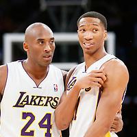 08 December 2013: Los Angeles Lakers shooting guard Kobe Bryant (24) talks to Los Angeles Lakers shooting guard Wesley Johnson (11) during the Toronto Raptors 106-94 victory over the Los Angeles Lakers at the Staples Center, Los Angeles, California, USA.