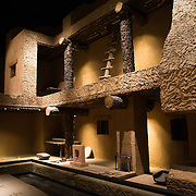 MEXICO CITY, MEXICO--A reconstruction of an earthen home from the city of Paquime. The National Museum of Anthropology showcases  significant archaeological and anthropological artifacts from the Mexico's pre-Columbian heritage, including its Aztec and indiginous cultures.