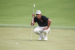 August 12, 2018 - Town And Country, Missouri, U.S - ADAM SCOTT from Australia lines up a putt on the 18th green during round four of the 100th PGA Championship on Sunday, August 12, 2018, held at Bellerive Country Club in Town and Country, MO (Photo credit Richard Ulreich / ZUMA Press) (Credit Image: © Richard Ulreich via ZUMA Wire)