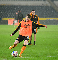 Hull City's Keane Lewis-Potter during the pre-match warm-up<br /> <br /> Photographer Andrew Vaughan/CameraSport<br /> <br /> EFL Trophy Quarter Final - Hull City v Lincoln City - Tuesday 2nd February 2021 - KCOM Stadium - Kingston upon Hull<br />  <br /> World Copyright © 2021 CameraSport. All rights reserved. 43 Linden Ave. Countesthorpe. Leicester. England. LE8 5PG - Tel: +44 (0) 116 277 4147 - admin@camerasport.com - www.camerasport.com