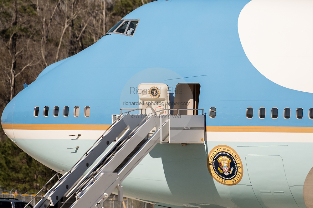 Nose section of Air Force One waiting for U.S. President Donald Trump to board at the Boeing factory February 17, 2016 in North Charleston, SC. Trump was in Charleston for the rollout of the new Boeing 787-10 Dreamliner aircraft.
