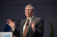 """27 JAN 2015, BERLIN/GERMANY:<br /> Bill Gates (William Henry Gates III),  Mitgruender und  Chairman of the Board der Microsoft Corporation und Mitgruender der  Bill & Melinda Gates Foundation, haelt eine Rede waehrend der Gavi Pledging Conference """"Reach Every Child"""", Berlin Congress Center<br /> IMAGE: 20150127-01-063<br /> KEYWORDS: Gavi Impfallianz"""