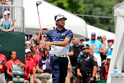 June 24, 2018 - Cromwell, CT, U.S. - CROMWELL, CT - JUNE 24: Bubba Watson of the United States watches his drive on 1 during the Final Round of the Travelers Championship on June 24, 2018 at TPC River Highlands in Cromwell, Connecticut. (Photo by Fred Kfoury III/Icon Sportswire) (Credit Image: © Fred Kfoury Iii/Icon SMI via ZUMA Press)