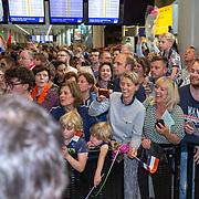 NLD/Amsterdam/20190519 - Songfestival winnaar 2019 Duncan Lawrance komt aan op Schiphol, wachtend publiek