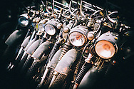Minsk motorbikes parked and lined up during a road trip to  Ha Giang Province, Vietnam, Southeast Asia