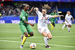 6?10??????????????????????????????????.Ajara Nchout (L) of Cameroon vies with Allysha Chapman (R) of Canada during..???????????????2019?6?11?.?????????——E??????????????.?????????????2019??????????E???????????1?0??????.?????????..(SP)FRANCE-RENNES-2019 FIFA WOMEN'S WORLD CUP-GROUP E-CANADA VS CAMEROON..(190611) -- MONTPELLIER, June 11, 2019  the group E match between Canada and Cameroon at the 2019 FIFA Women's World Cup in Montpellier, France on June 10, 2019. Canada won 1-0. (Credit Image: © Xinhua via ZUMA Wire)