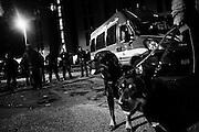 Polizia presidia il centro di accoglienza per rifugiati nel quartiere di Tor Sapienza, Roma 13 Novembre 2014.  Christian Mantuano / OneShot