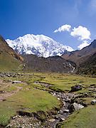 On a small plain (pampa) just before the ascent to Salkantay Pass, near Soraypampa, Peru.