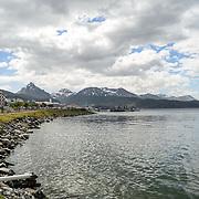 Looking west from Puerto de Ushuaia towards the mountains of Tierra del Fuego, Argentina.