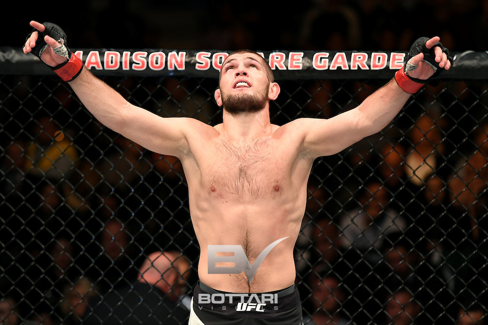 NEW YORK, NY - NOVEMBER 12:  Khabib Nurmagomedov of Russia celebrates his KO victory over Michael Johnson of the United States (not pictured) in their lightweight bout during the UFC 205 event at Madison Square Garden on November 12, 2016 in New York City.  (Photo by Jeff Bottari/Zuffa LLC/Zuffa LLC via Getty Images)