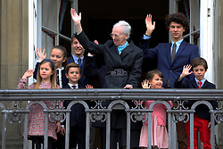 Queen Margrethe together with her grandchildren, Crown Princess Mary, Princess Marie and Prince Joachim at the balcony of the Royal residence, Amalienborg Palace in Copenhagen , on the occasion of her 78th birthday where she was celebrated by many hundreds of Copenhageners and tourists at the palace square. 16 Apr 2018 Pictured: Queen Margrethe of Denmark, Princess Isabella, Prince Christian, Prince Vincent, Princess Josephine, Prince Joachim, Princess Marie, Prince Nikolai, Prince Felix, Princess Athena, Queen Margrethe of Denmark. Photo credit: MEGA TheMegaAgency.com +1 888 505 6342