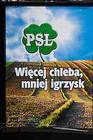 political poster for the PSL party displayed in Kazimierz Krakow Poland