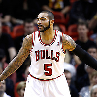 29 January 2012: Chicago Bulls power forward Carlos Boozer (5) is seen on defense during the Miami Heat 97-93 victory over the Chicago Bulls at the AmericanAirlines Arena, Miami, Florida, USA.