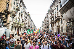 Participants in the annual 'Milano Pride' on June 24, 2017 in Milan, Italy. Hundreds of people demonstrated in favor of gay rights. (Photo by Romano Nunziato/NurPhoto) *** Please Use Credit from Credit Field ***