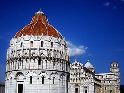 The Baptistry of St. John, Duomo Cathedral and Leaning tower in Pisa, Tuscany, Italy. 2nd July, 2011..©Pic : Michael Schofield.
