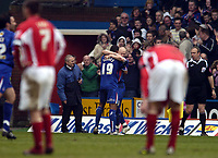 Photo: Olly Greenwood.<br />Crystal Palace v Crewe Alexander. Coca Cola Championship. 15/04/2006. Crystal Palace's Andrew Johnson celebrates scoring while Crewe players look dejected.