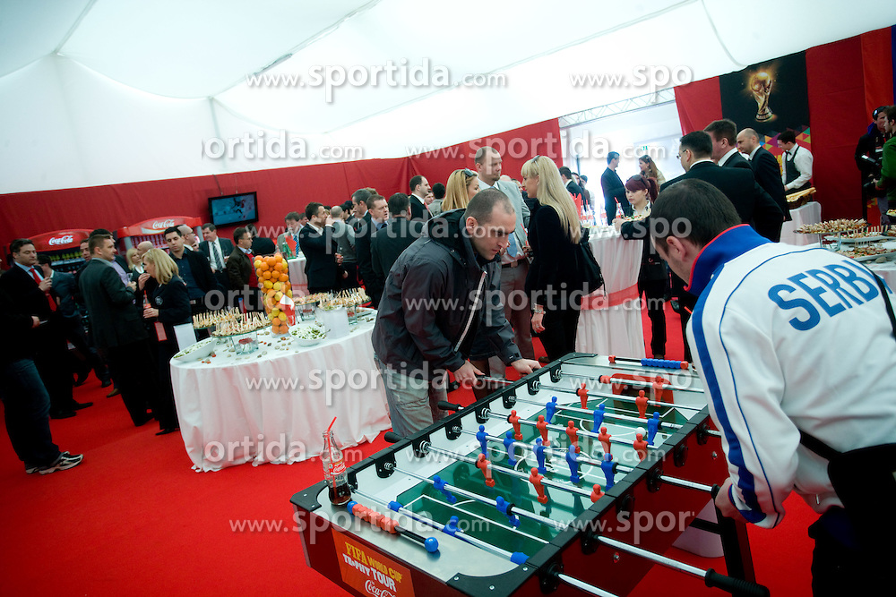 Playing table football at VIP reception of FIFA World Cup Trophy Tour by Coca-Cola, on March 29, 2010, in BTC City, Ljubljana, Slovenia.  (Photo by Vid Ponikvar / Sportida)