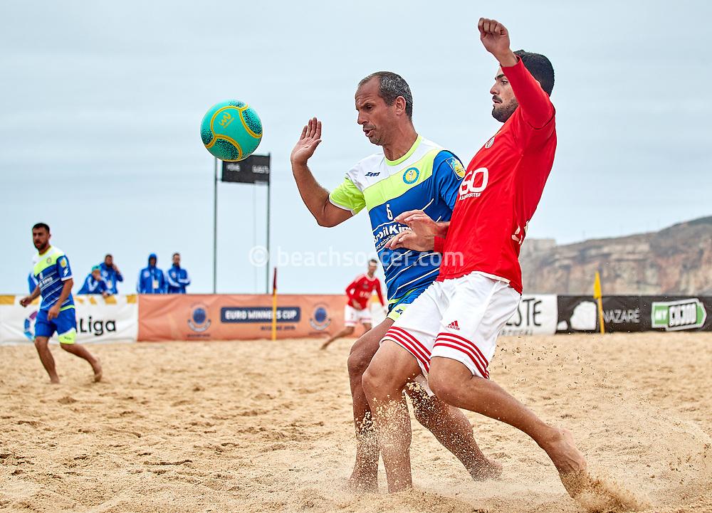 NAZARE, PORTUGAL - JUNE 4: Nathaniel Bole Da Costa of Atlas AO and Von of Casa Benfica Loures during the Euro Winners Cup Nazaré 2019 at Nazaré Beach on June 4, 2019 in Nazaré, Portugal. (Photo by Jose M. Alvarez)