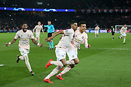 GOAL - Manchester United Forward Marcus Rashford celebrates 1-3 with Manchester United forward Mason Greenwood during the Champions League Round of 16 2nd leg match between Paris Saint-Germain and Manchester United at Parc des Princes, Paris, France on 6 March 2019.