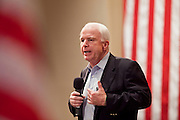 Aug, 25, 2009 -- SUN CITY, AZ: SEN JOHN MCCAIN during the Town Hall meeting on health care sponsored by Sen McCain at Grace Bible Church in Sun City, AZ, Tuesday. More than 1,000 people attended the meeting in the church, which seats 700. Sun City is a staunchly Republican suburb of Phoenix and most of the crowd was opposed to President Obama health care reform efforts.     Photo by Jack Kurtz