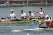 Munich, GERMANY, 02.09.2007,   A Final,GRB LM 4-, Bow Richard CHAMPERS, James Lindsay-Fynn, Paul MATTICK and James CLARKE, winning the Gld Medal at  the 2007 World Rowing Championships, taking place on the  Munich Olympic Regatta Course, Bavaria. [Mandatory Credit. Peter Spurrier/Intersport Images]. , Rowing Course, Olympic Regatta Rowing Course, Munich, GERMANY