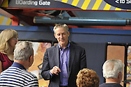 Erik Lindbergh, grandson of aviator Charles Lindbergh, participates in 85th anniversary celebration of his grandfather's historic solo flight across Atlantic, on Saturday May 19, 2012, at Cradle of Aviation museum, Long Island, New York. The 1927 flight of C. Lindbergh's Spirit of St. Louis which started at nearby Roosevelt Field, and ended at Le Bourget, France - was discussed, along with future of aviation, by panelists. After the panel, Lindberg chatted with audience members. 10th anniversary of Cradle of Aviation opening and 35th anniversary of Charles A. & Anne Morrow Lindbergh Foundation were also celebrated.