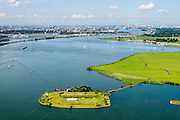 Nederland, Noord-Holland, Amsterdam, 05-08-2014; Buiten-IJ met Polder IJdoorn, Vuurtoreneiland met Kustbatterij (Fort Durgerdam, onderdeel van de Stelling van Amsterdam).<br /> Lighthouse Island with coastal Battery (Defense Line of Amsterdam).<br /> luchtfoto (toeslag op standard tarieven);<br /> aerial photo (additional fee required);<br /> copyright foto/photo Siebe Swart