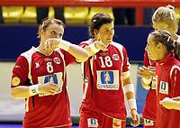 03.12.2008 Ohrid (FYR Macedonia)<br />Norway-Spain European women's handball championship<br />Breivang Karoline Dyhre(L) with Riegelhuth Linn Kristin(C) Norway after match<br />Foto:Aleksandar Djorovic