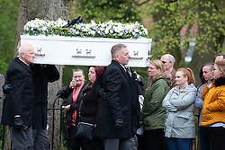 © Licensed to London News Pictures. 24/04/2018. Brownhills, West Midlands, UK. The Funeral of MYLEE BILLINGHAM took place at St James' Church, Church Road, Brownhills, Walsall. Her father, WILLIAM BILINGHAM, of Brownhills, near Walsall, is accused of killing Mylee on January 20 and faces a separate charge of making threats to kill her mother, TRACEY TAUNDRY, on the same day. Pictured, the hearse arrives for the service. Photo credit: Dave Warren/LNP