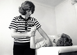Physiotherapy for RSI sufferer, wellbeing centre, West Bridgford Notts UK Jan 1995