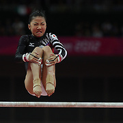 Asuka Teramoto, Japan, in action on the Uneven Bars during the Women's Individual All-Around competition at North Greenwich Arena, during the London 2012 Olympic games. London, UK. 2nd August 2012. Photo Tim Clayton