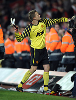Anders Lindegaard Throws his Gloves in to the crowd after the final whistle<br />Manchester United 2010/11<br />Southampton V Manchester United (1-2) 29/01/11 <br />The FA Cup 4th Round<br />Photo: Robin Parker Fotosports International