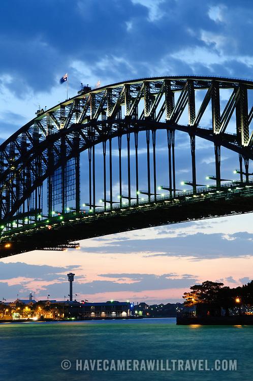 Dusk view of the Sydney Harbour Bridge