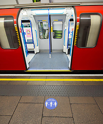 The London tube network is expected to be busier from Monday 15th June 2020 as people start to go back to work in greater numbers as TFL put up posters and signs to remind passengers to socially distance from one another. London, Great Britain <br /> 11th June 2020 <br /> <br /> Photograph by Elliott Franks